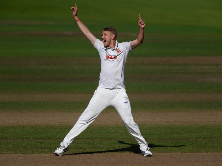 Essex bowler Jamie Porter celebrates dismissing Sam Hain during day one of the County Championship Division One match against Warwickshire at Edgbaston