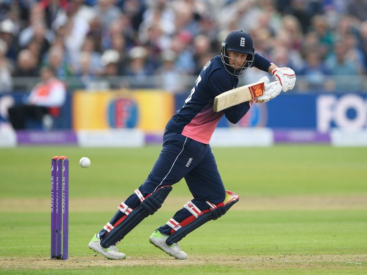BRISTOL, ENGLAND - SEPTEMBER 24: Joe Root of England hits out during the 3rd Royal London One Day International match between England and the West Indies a