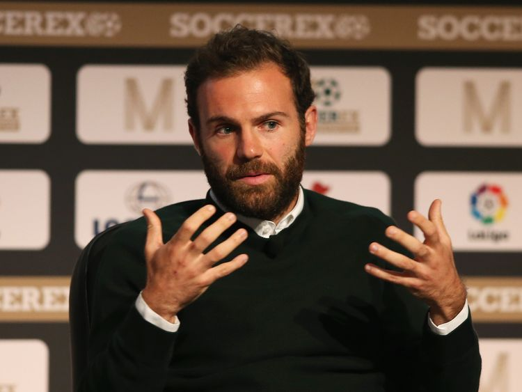 MANCHESTER, ENGLAND - SEPTEMBER 05:  Juan Mata of Manchester United talks during day 2 of the Soccerex Global Convention at Manchester Central Convention C