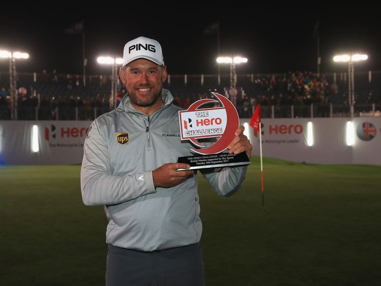 NEWCASTLE UPON TYNE, ENGLAND - SEPTEMBER 26:  Lee Westwood of England poses with the trophy after winning the Hero Challenge 2017 prior to the start of the