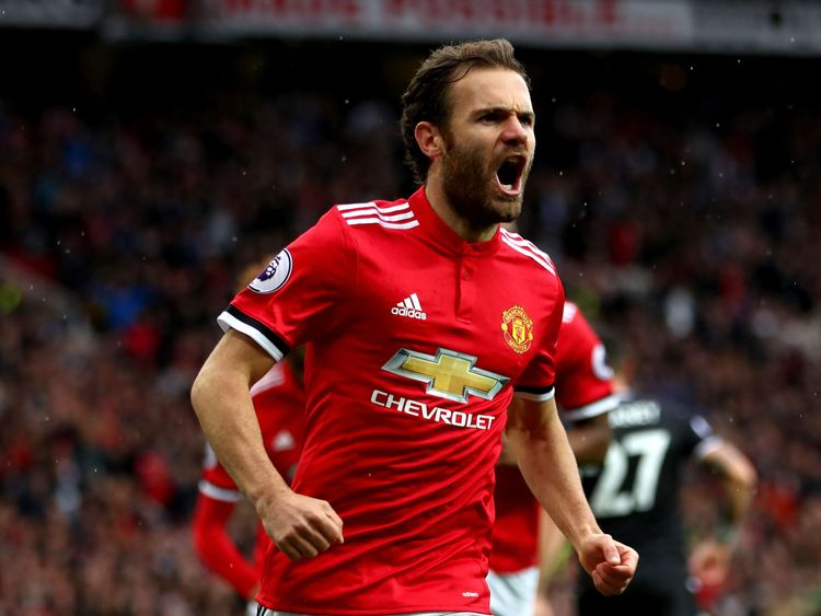 Juan Mata opens the scoring for Manchester United at Old Trafford