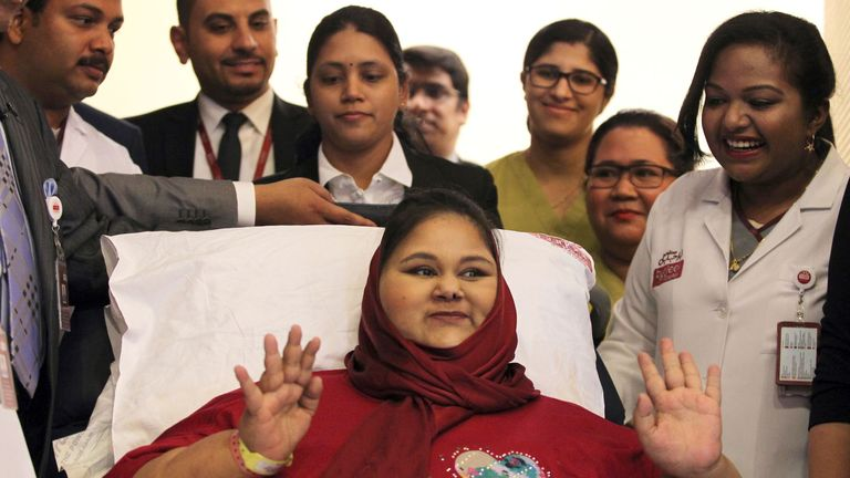 Eman Ahmed pictured with her medical team at the Burjeel Hospital in Abu Dhabi in July