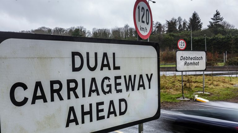 The virtually unmarked Irish-UK border near the Northern Ireland town of Newry