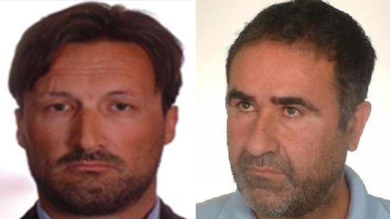 Composite of Mike Acklom and Jose Manuel Costas Estevez who are wanted by police and are believed to be on the run together
