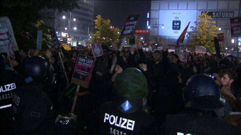Germans protest after the country's elections