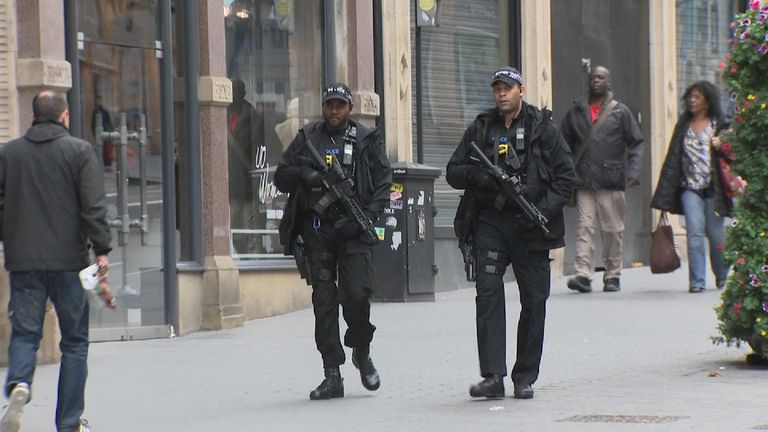 Armed police on patrol in Birmingham in the wake of the Parsons Green bombing