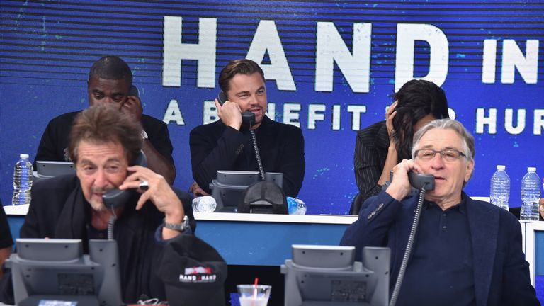 NEW YORK, NY - SEPTEMBER 12: In this handout photo provided by Hand in Hand, Al Pacino, Robert De Niro caption at ABC News' Good Morning America Times Square Studio on September 12, 2017 in New York City. (Photo by Theo Wargo/Hand in Hand/Getty Images)
