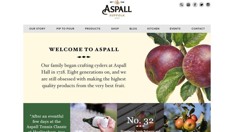 Aspall's webpage