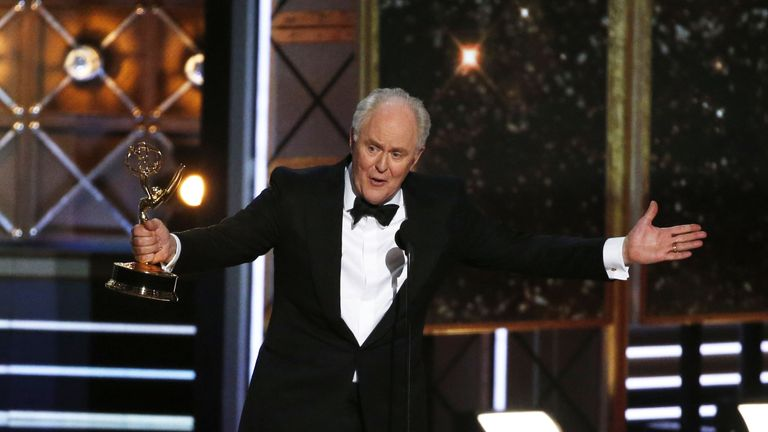 John Lithgow accepts the award for outstanding support actor in a drama series for his role in The Crown