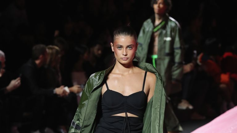 The designer had VS model's Taylor Hill and Adriana Lima on the catwalk