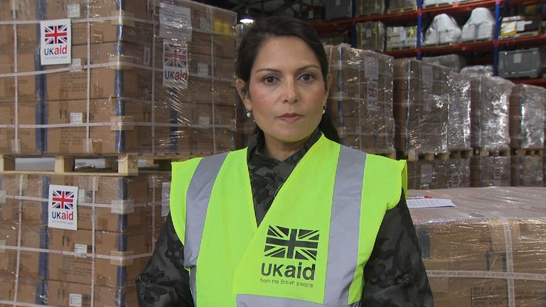 International Development secretary Priti Patel in DFID's Disaster Response Centre in Kemble.