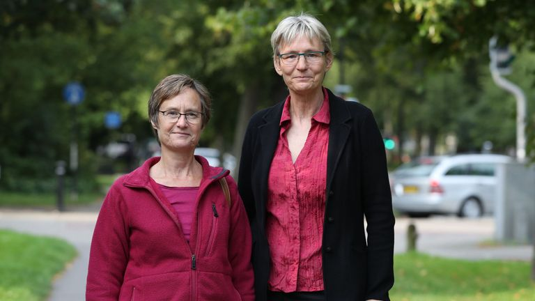 Helen Richardson and Paula Holland (L) accused their neighbour of harassment