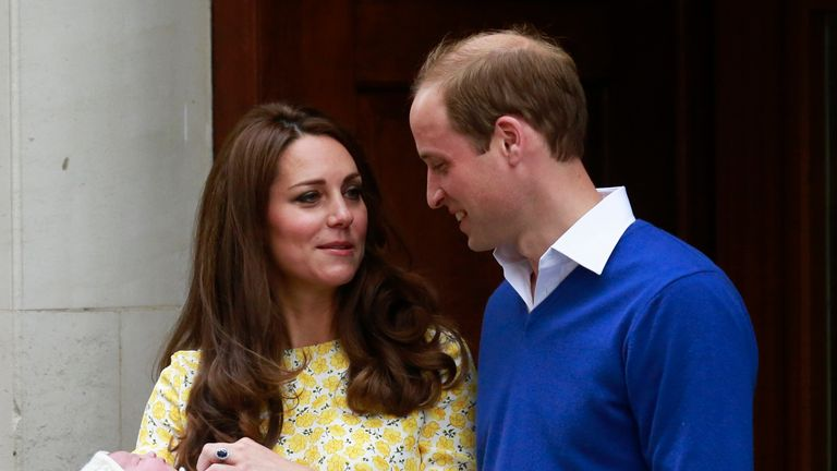 William and Kate outside the hospital following Charlotte's birth in 2015