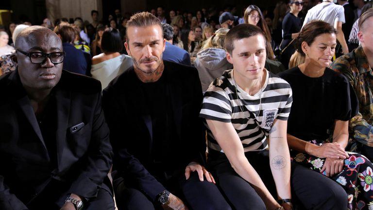 David Beckham and Brooklyn Beckham attend the Victoria Beckham Spring/Summer 2018 collection presentation
