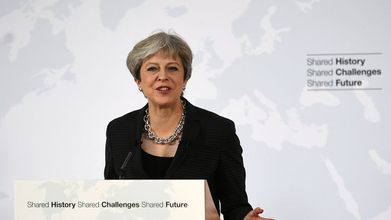 Theresa May gives her landmark Brexit speech in Complesso Santa Maria Novella in Florence, Italy