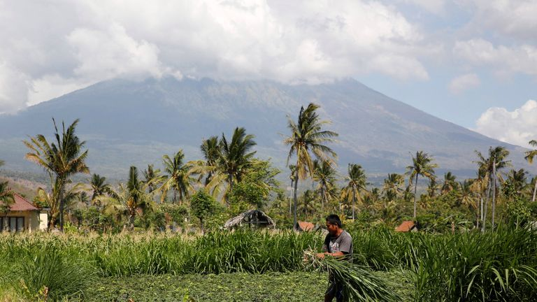 A farmer works in his field with Mount Agung in the background
