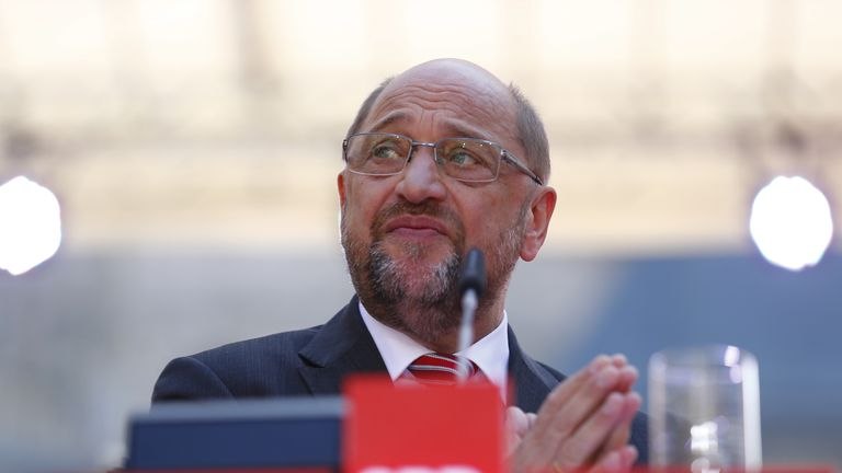 Social Democratic Party (SPD) Chancellor candidate Martin Schulz reacts during the final campaign rally in Aachen