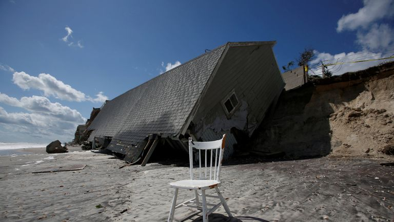 A collapsed coastal house in Vilano Beach, Florida