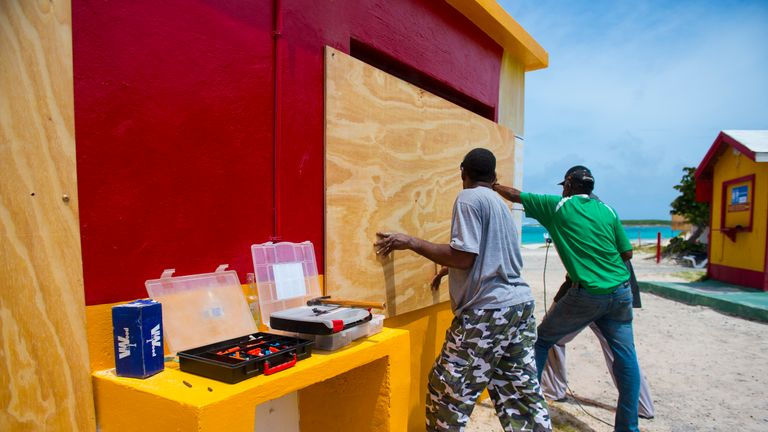 People on the island of Saint-Martin prepare for the coming storm