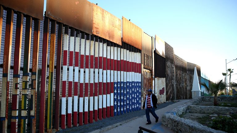 A view of the US-Mexican border fence at Playas de Tijuana on January 27, 2017 in Tijuana, Mexico