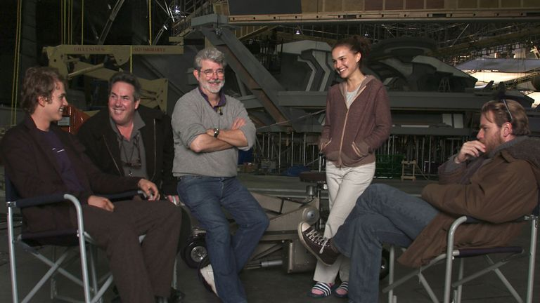 Simpler times: Lucas, Portman and McCgregor on the set of The Revenge Of The Sith
