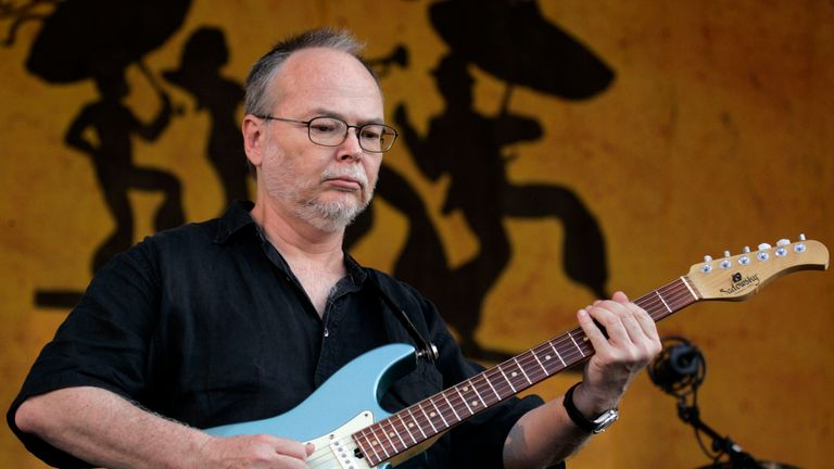 NEW ORLEANS - MAY 6: Guitarist Walter Becker of Steely Dan performs at the New Orleans Jazz & Heritage Festival at the Fair Grounds Race Course May 6, 2007 in New Orleans, Louisiana. (Photo by Sean Gardner/Getty Images)