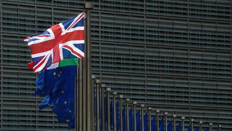 UK flag at EU headquarters