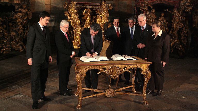 Gordon Brown signs the Treaty of Lisbon in December 2007