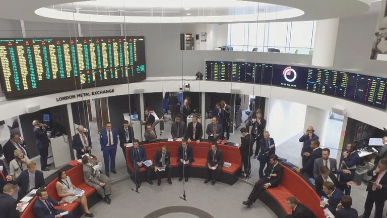 The London Metal Exchange still operates a verbal trading ring for orders alongside a digital platform. Pic: LME