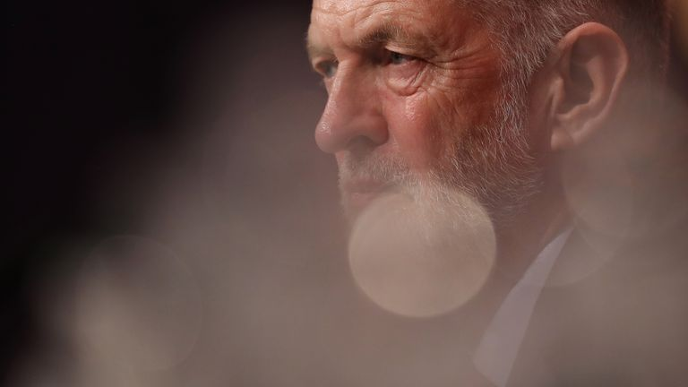 BRIGHTON, ENGLAND - SEPTEMBER 25: Labour Leader Jermey Corbyn sits in the main hall after Shadow Chancellor John McDonnell delivered his keynote speech during day two of the Labour Party Conference on September 25, 2017 in Brighton, England. The annual Labour Party conference runs from 24-27 September. (Photo by Dan Kitwood/Getty Images)