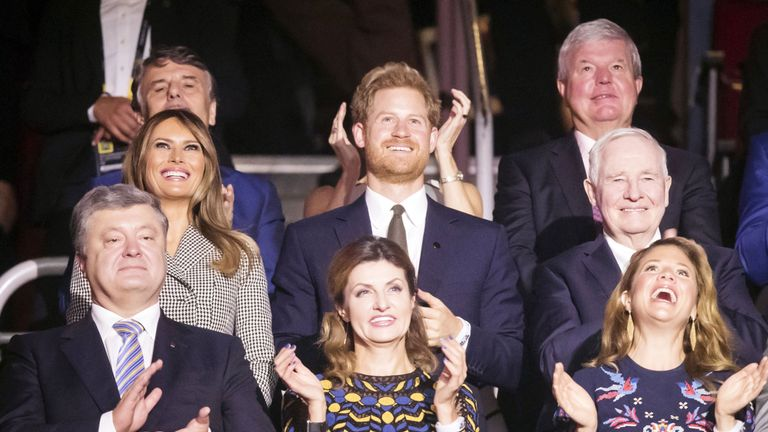 The First Lady of the United States Melania Trump and Prince Harry attend the Opening Ceremony of the 2017 Invictus Games
