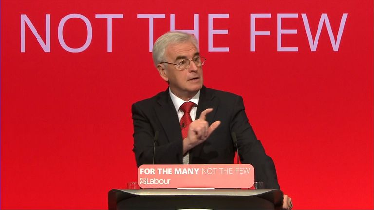 John McDonnell speaking at the Labour conference in Brighton