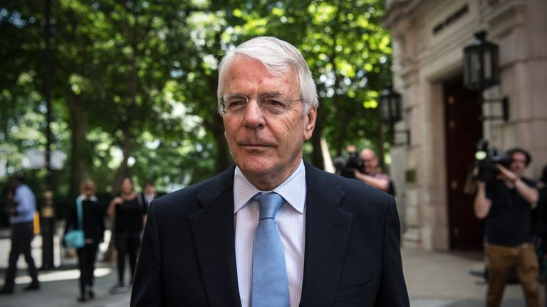 LONDON, ENGLAND - JUNE 13: Former Conservative Prime Minister John Major leaves Millbank Studios on June 13, 2017 in London, England. Sir John Major said he was wary about a planned deal between the Conservatives and the Democratic Unionist Party and was dubious about the proposed deal and its impact on devolution and the peace process. (Photo by Carl Court/Getty Images)