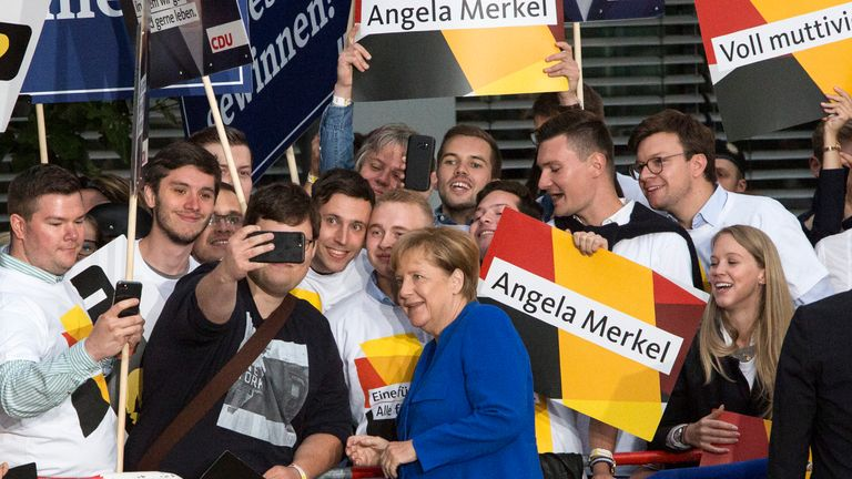 BERLIN, GERMANY - SEPTEMBER 03: German Chancellor and Christian Democrat (CDU) Angela Merkel is seen arriving at Adlershof television studios to attend the live television debate with German Social Democrat (SPD) and chancellor candidate Martin Schulz, on September 3, 2017 in Berlin, Germany. Germany will hold federal elections on September 24 and so far Merkel, who is seeking a fourth term, has a double-digit lead over Schulz. (Photo by Omer Messinger/Getty Images)
