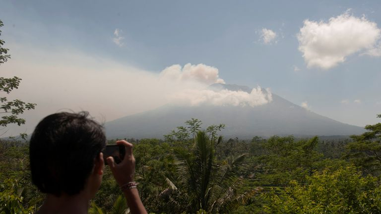 Mount Agung, an active volcano on Bali that authorities say is showing increased activity