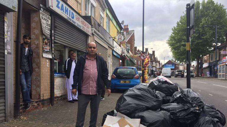 Bin bags pile up in Alum Rock, Birmingham