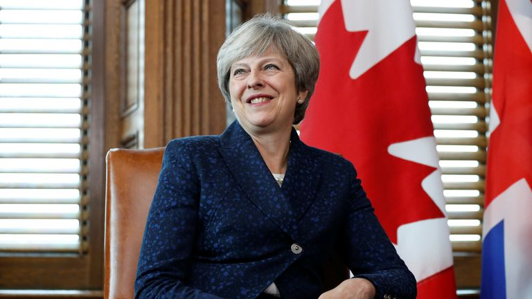 Prime Minister Theresa May takes part in a meeting with Canada's Prime Minister Justin Trudeau (not pictured) on Parliament Hill in Ottawa, Ontario, Canada, September 18, 2017