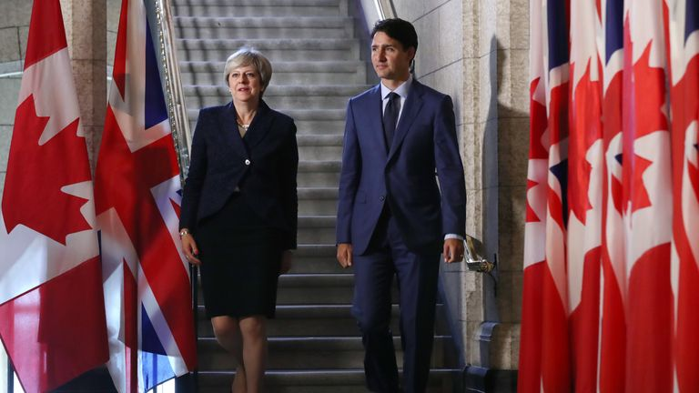 Theresa May's in Canada to discuss a post-Brexit trade deal with Canada