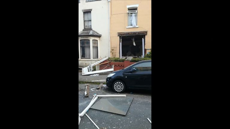 Two people were injured after a gas explosion ripped through a guest house in Blackpool, burying them under rubble.