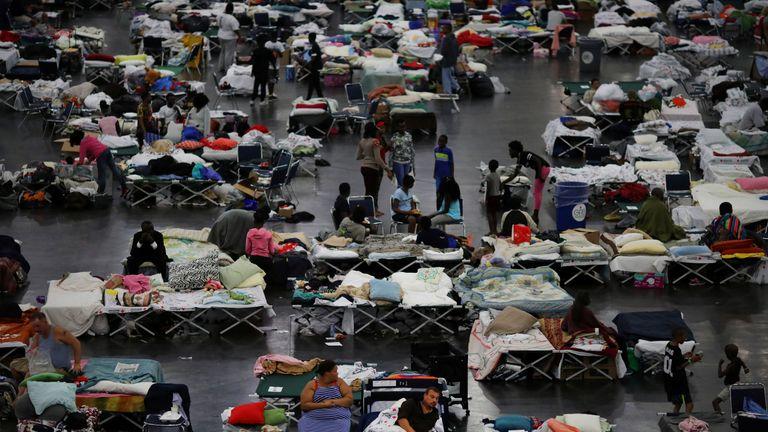 Evacuees from Hurricane Harvey