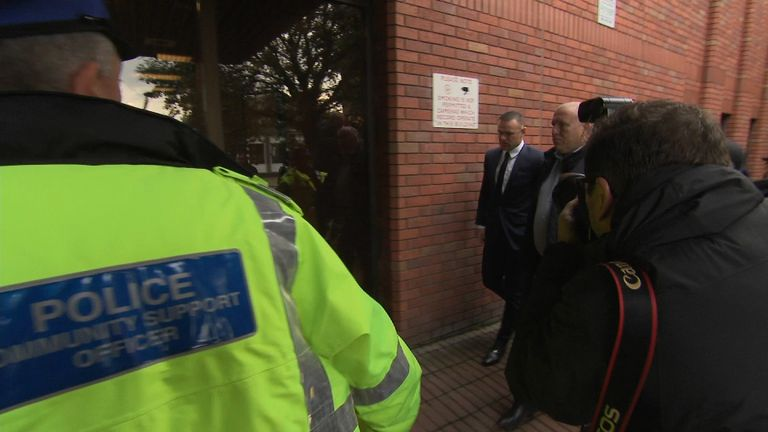 CE grab of Wayne Rooney arrival at Stockport Magistrates.