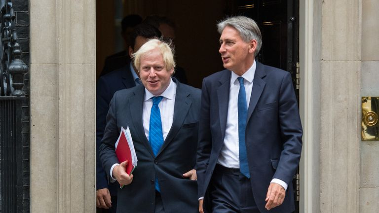 Foreign Secretary Boris Johnson (left) and Chancellor Philip Hammond