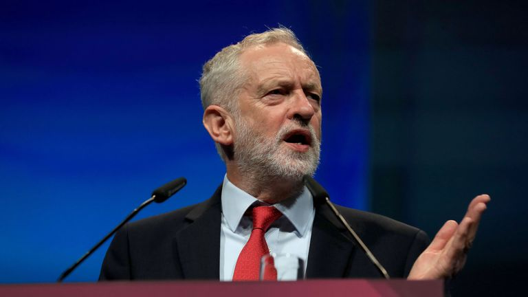 Labour leader Jeremy Corbyn addresses delegates in Brighton