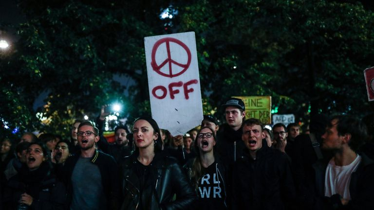 Opponents of the Alternative for Germany (AfD) protest against election results