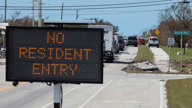 Local residents try to enter areas of the Florida Keys