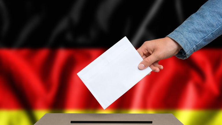 Election in Germany - voting at the ballot box - Stock image