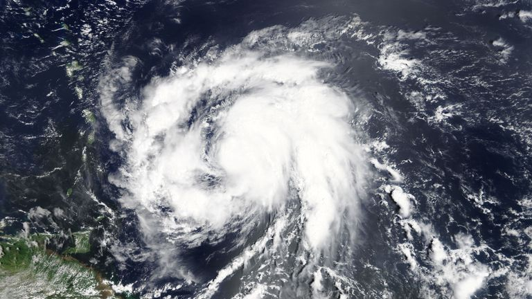 Hurricane Maria as pictured in the Atlantic Ocean by NASA
