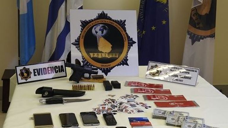 Some of the items confiscated by police. Pic. Uruguay interior ministry