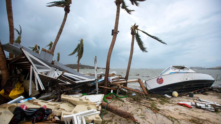 Debris and a boat washed up onto shore in Marigot, near the Bay of Nettle, on the French Collectivity of Saint Martin