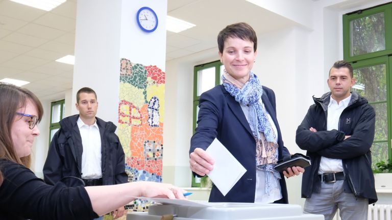AfD co-leader Frauke Petry casts her vote at a polling station in Leipzig